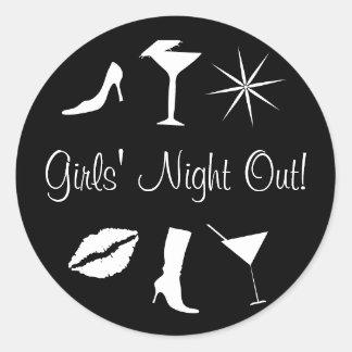 ¡La noche de los chicas hacia fuera! Sello del Pegatina Redonda