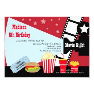 La noche de película embroma la invitación de la invitación 12,7 x 17,8 cm