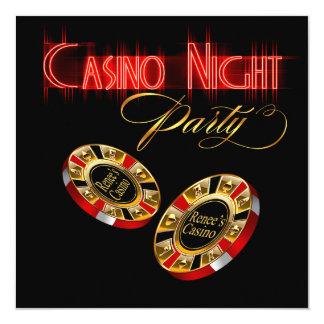 """La noche del casino de Vegas ME PREGUNTA que 2 Invitación 5.25"""" X 5.25"""""""