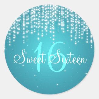 La noche del dulce dieciséis deslumbra el azul etiquetas redondas