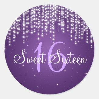 La noche del dulce dieciséis deslumbra púrpura etiquetas