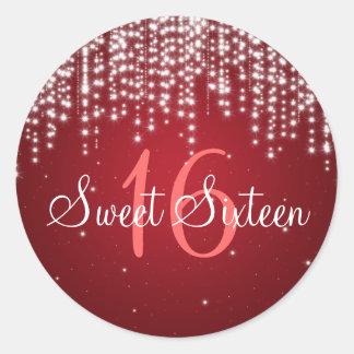 La noche del dulce dieciséis deslumbra rojo etiqueta redonda