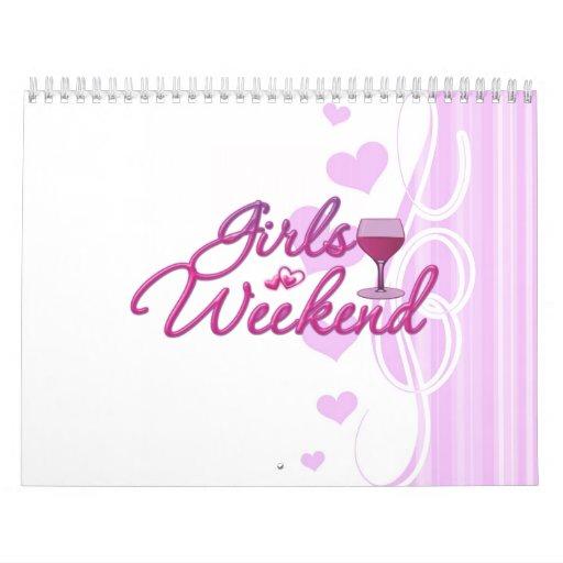 la noche del fin de semana de los chicas hacia fue calendario de pared