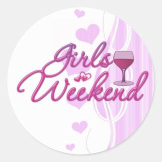 la noche del fin de semana de los chicas hacia pegatina redonda