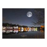 La noche del invierno frío en fila del Boathouse Invitación 12,7 X 17,8 Cm