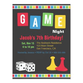 """La noche del juego de mesa embroma invitaciones de invitación 4.25"""" x 5.5"""""""
