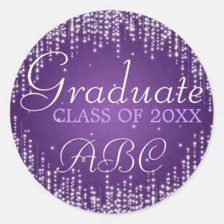 La noche elegante de la graduación deslumbra pegatina redonda