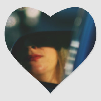 La noche enciende el espejo de coche de señora Red Pegatina En Forma De Corazón