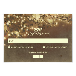 La noche enciende las tarjetas rústicas de RSVP Invitación 8,9 X 12,7 Cm