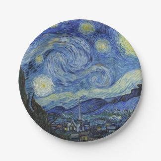 La noche estrellada de Van Gogh Plato De Papel De 7 Pulgadas