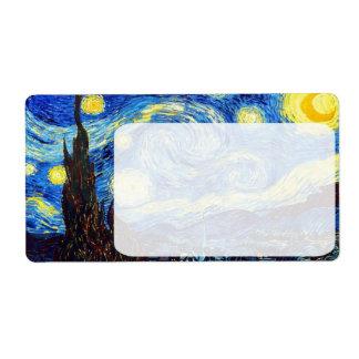 La noche estrellada de Vincent van Gogh 1889 Etiqueta De Envío