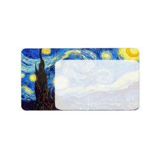 La noche estrellada de Vincent van Gogh 1889 Etiqueta De Dirección