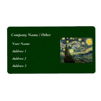 La noche estrellada de Vincent van Gogh (1889) Etiqueta De Envío
