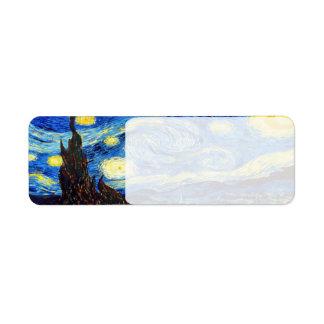 La noche estrellada de Vincent van Gogh 1889 Etiqueta De Remite