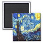 La noche estrellada de Vincent van Gogh 1889 Imán Cuadrado