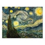 La noche estrellada de Vincent van Gogh (1889) Invitación 10,8 X 13,9 Cm