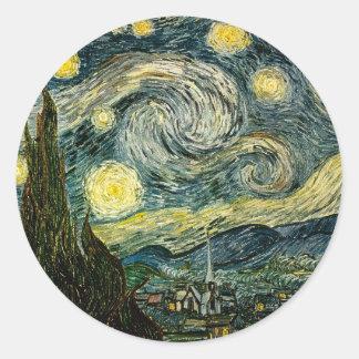 La noche estrellada de Vincent van Gogh (1889) Pegatina Redonda