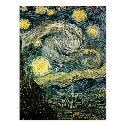 La noche estrellada de Vincent van Gogh (1889) Postal
