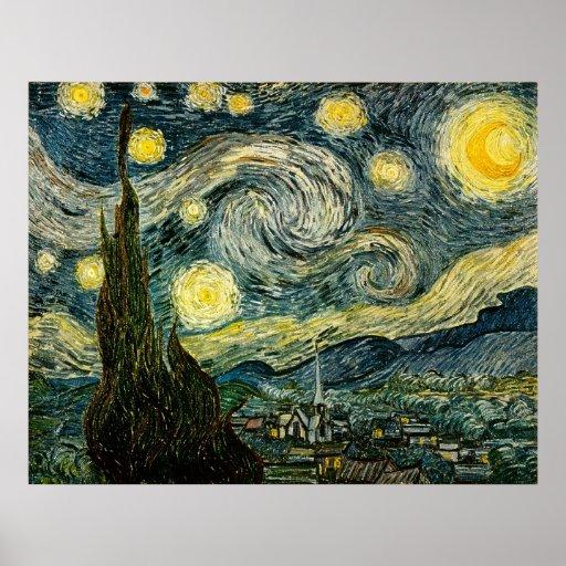La noche estrellada de Vincent van Gogh (1889) Póster