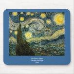 La noche estrellada de Vincent van Gogh (1889) Tapetes De Ratón