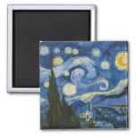 La noche estrellada de Vincent van Gogh Imán Cuadrado