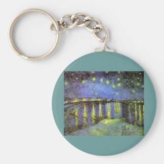 La noche estrellada de Vincent van Gogh sobre el R Llavero Redondo Tipo Pin