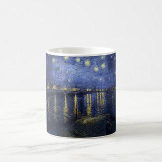 La noche estrellada de Vincent van Gogh sobre el R Taza Básica Blanca