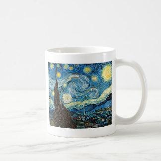 La noche estrellada de Vincent van Gogh Taza Básica Blanca