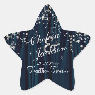 La noche estrellada el | del día de boda pegatina en forma de estrella