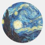 La noche estrellada etiqueta redonda