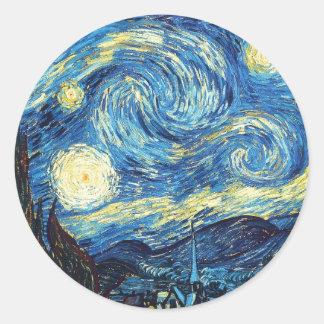 La noche estrellada pegatina redonda