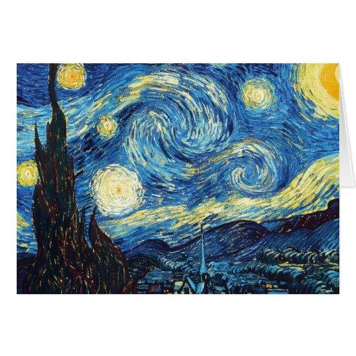 La noche estrellada tarjeta de felicitación