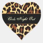 La noche negra de los chicas del leopardo del oro pegatinas de corazon