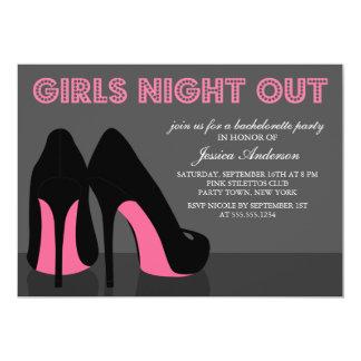 La noche rosada de los chicas de los zapatos del invitación 12,7 x 17,8 cm