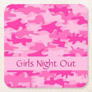 La noche rosada de los chicas del camuflaje de posavasos personalizable cuadrado