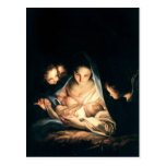 La noche santa (la natividad) tarjeta postal