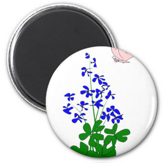 La nomeolvides florece el azul, trébol, mariposa imán redondo 5 cm