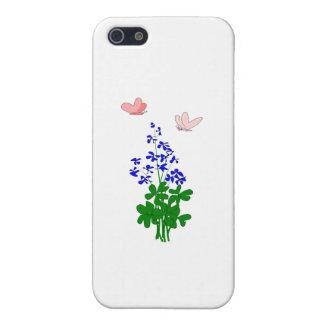 La nomeolvides florece el azul, trébol, mariposa iPhone 5 funda