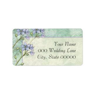 La nomeolvides florece el boda verde púrpura etiquetas de dirección