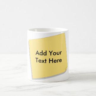 La nota de post-it añade su propio texto taza de café