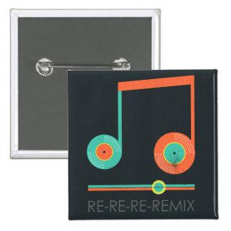 La nota DJ de la música de los discos de vinilo Pin Cuadrada 5 Cm