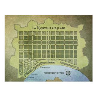 La Nouvelle Orléans or New Orleans Map Postcard