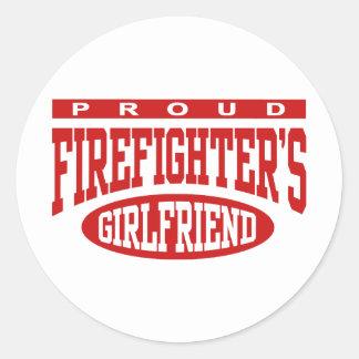 La novia del bombero orgulloso pegatina redonda