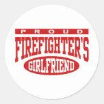 La novia del bombero orgulloso pegatinas redondas