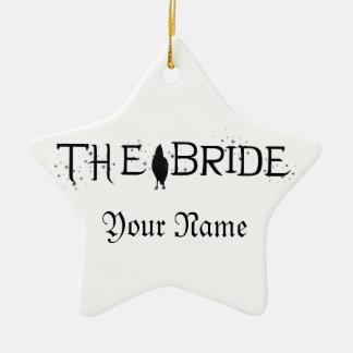 La novia del cuervo adorno navideño de cerámica en forma de estrella