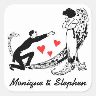 La novia del vintage, novio personalizó al pegatina cuadrada
