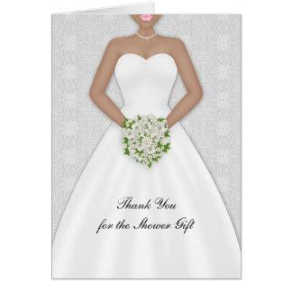 La novia, ducha nupcial afroamericana le agradece tarjeta de felicitación