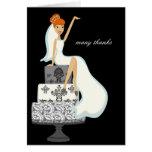 La novia en un pastel de bodas le agradece las not felicitacion