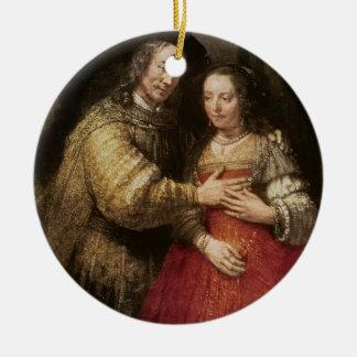 La novia judía, c.1667 (aceite en lona) adorno redondo de cerámica