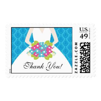 La novia le agradece azul nupcial del damasco del sellos